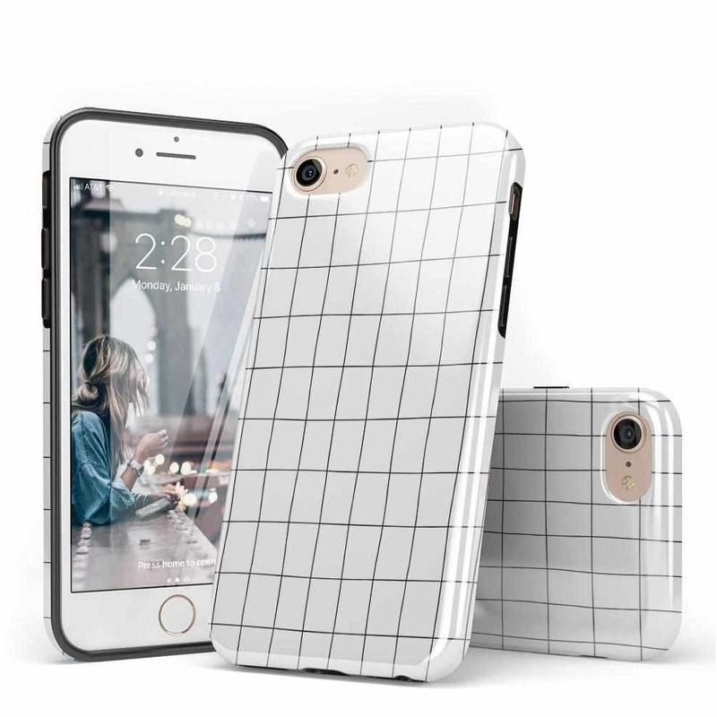 The white case with black grid print