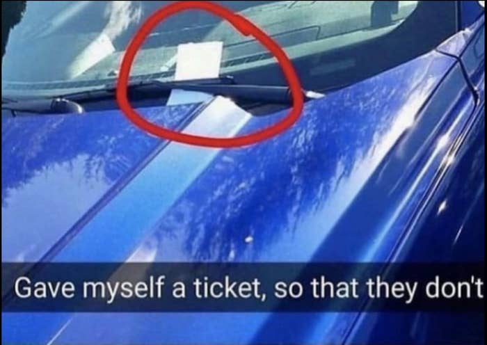 someone who gave themselves a parking ticket so they wouldn't get one