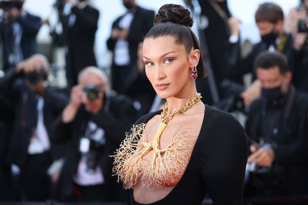 Bella hadid wearing a giant necklace of lungs