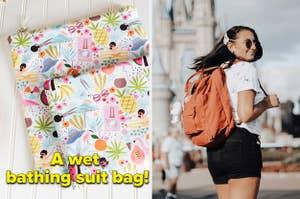 left image: wet bathing suit bag, right image: ali wearing fjallraven kanken backpack