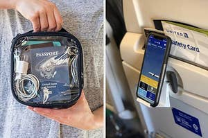 hand holding clear reusable bag for TSA; phone mounted to back of airplane seat, easily