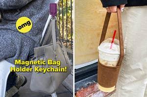 left image: magnetic bag holder keychain, right image: drink carrier