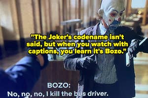 "Heath Ledger as the Joker in ""The Dark Knight"" robbing a bank"
