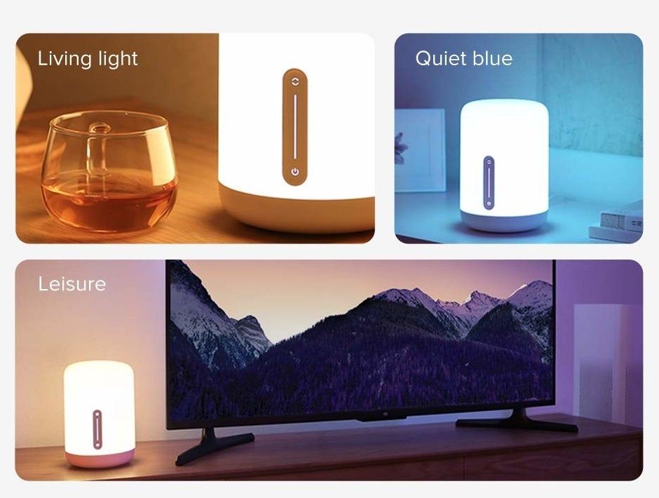"""A collage showing a Mi Smart Lamp in """"Living Light"""", """"Quiet Blue"""", and """"Leisure"""" lighting modes"""