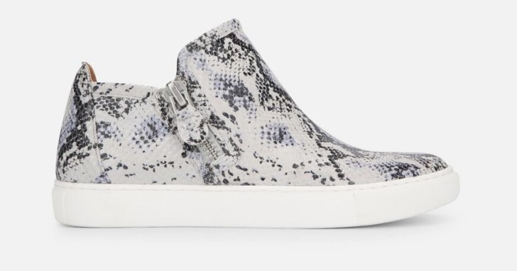 the sneakers in snakeprint