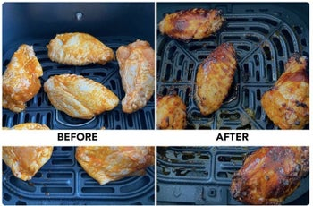 A before and after of chicken wings being cooked in an air fryer