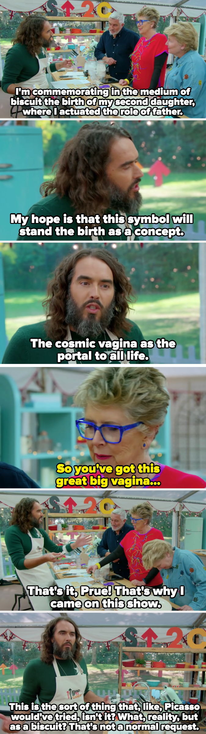 """Russell pitches his showstopper, which is based on the birth of his second daughter, and Prue responds, """"so you've got this great big vagina"""""""