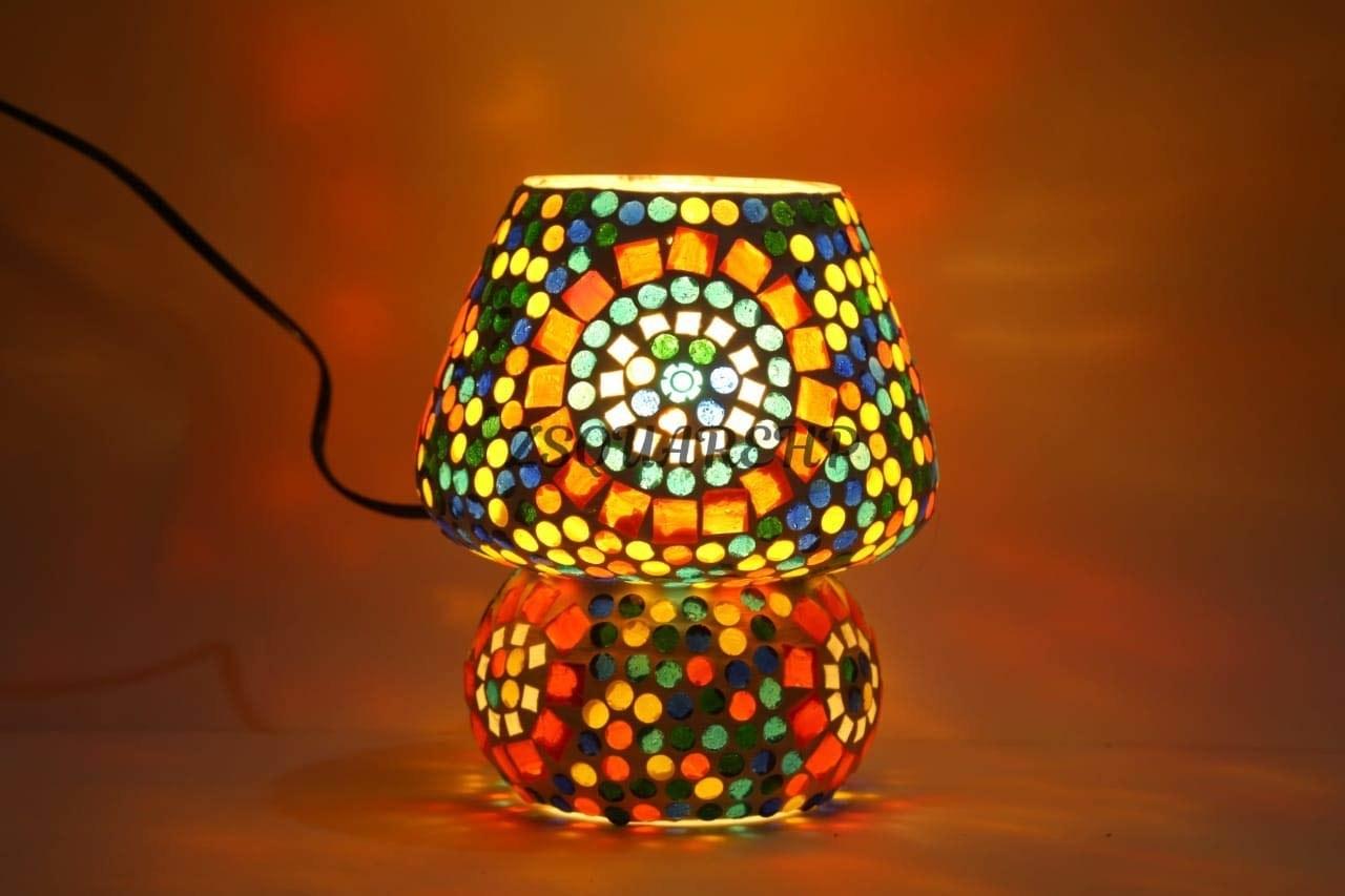 A colourful mosaic lamp