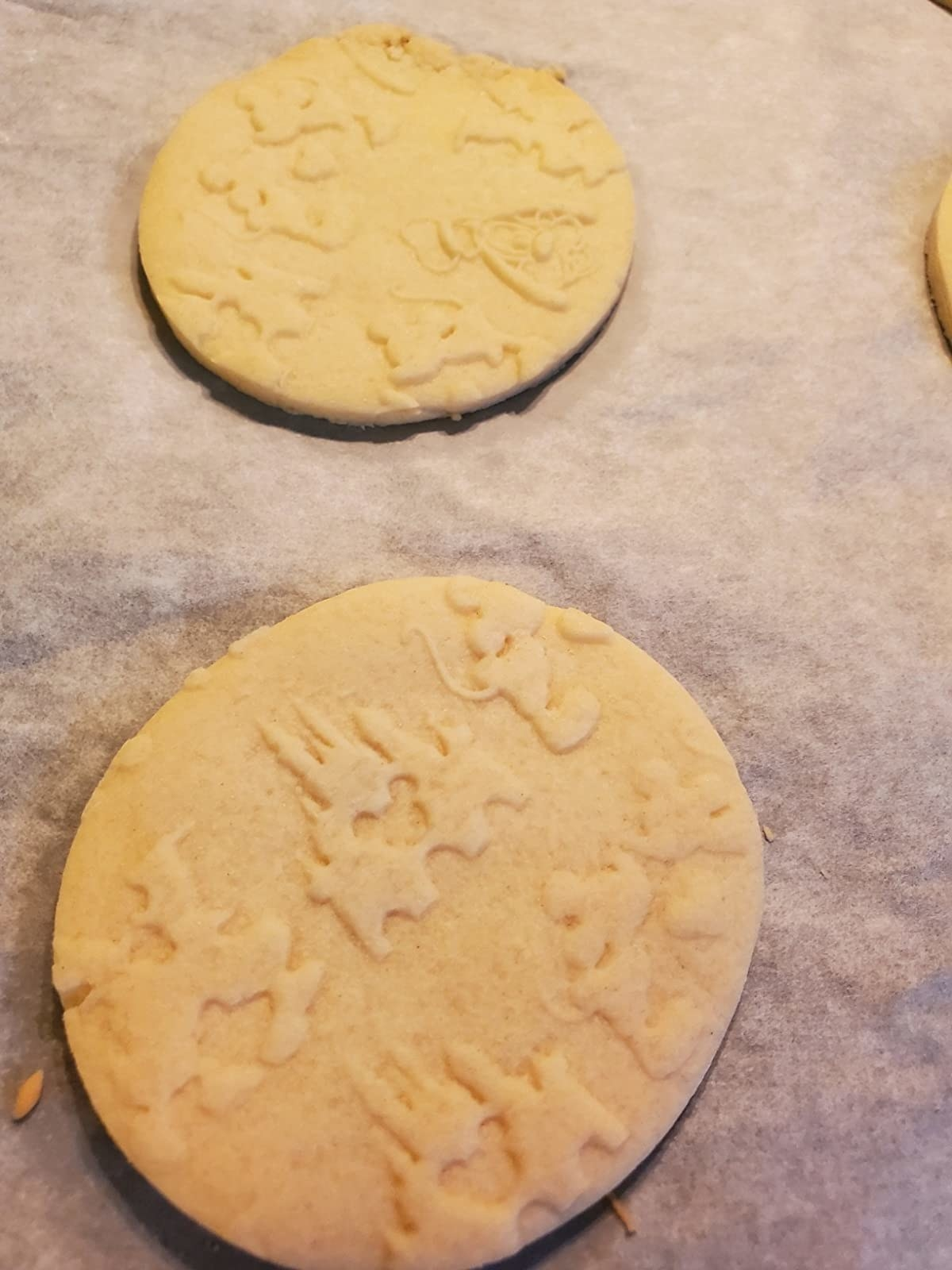 Reviewer photo of dough with the Disney castle embossed on it
