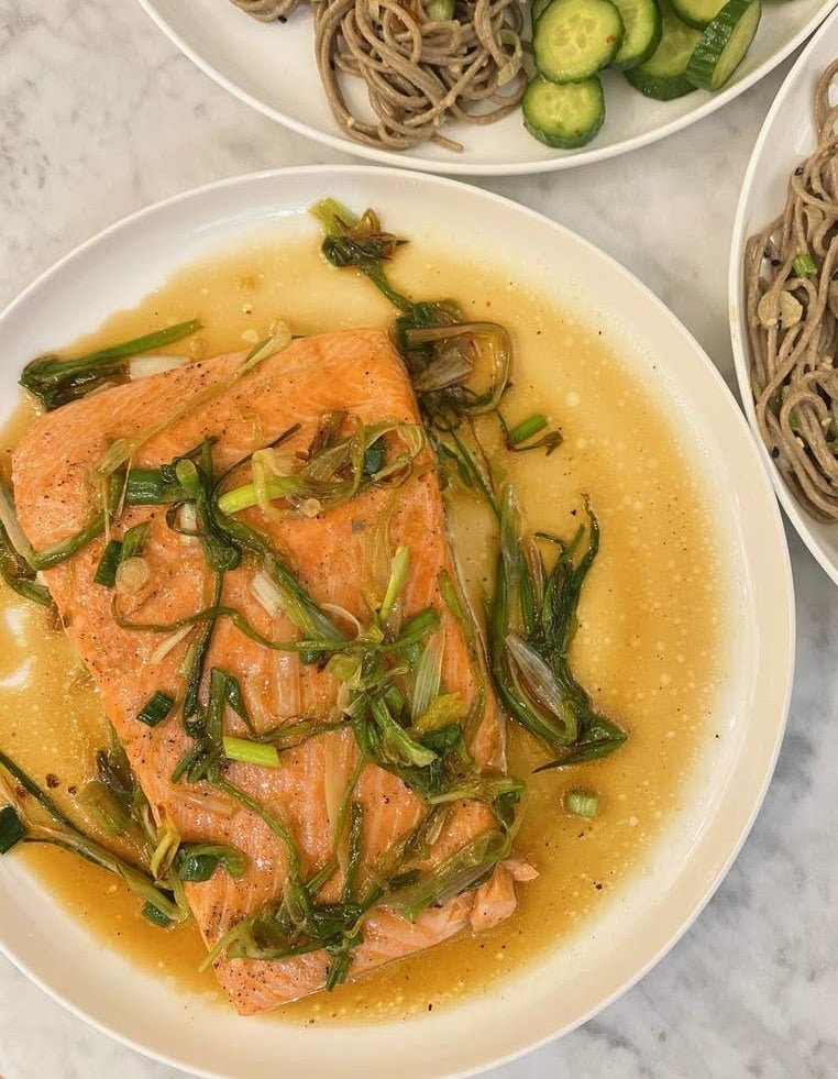 Salmon in a soy sauce with scallions