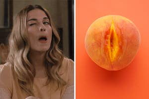alexis rose winking on the left and a peach on the right
