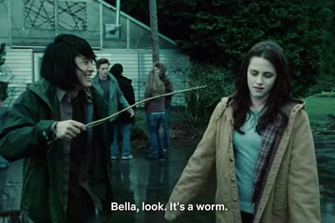 """Eric: """"Bella, look. It's a worm"""""""