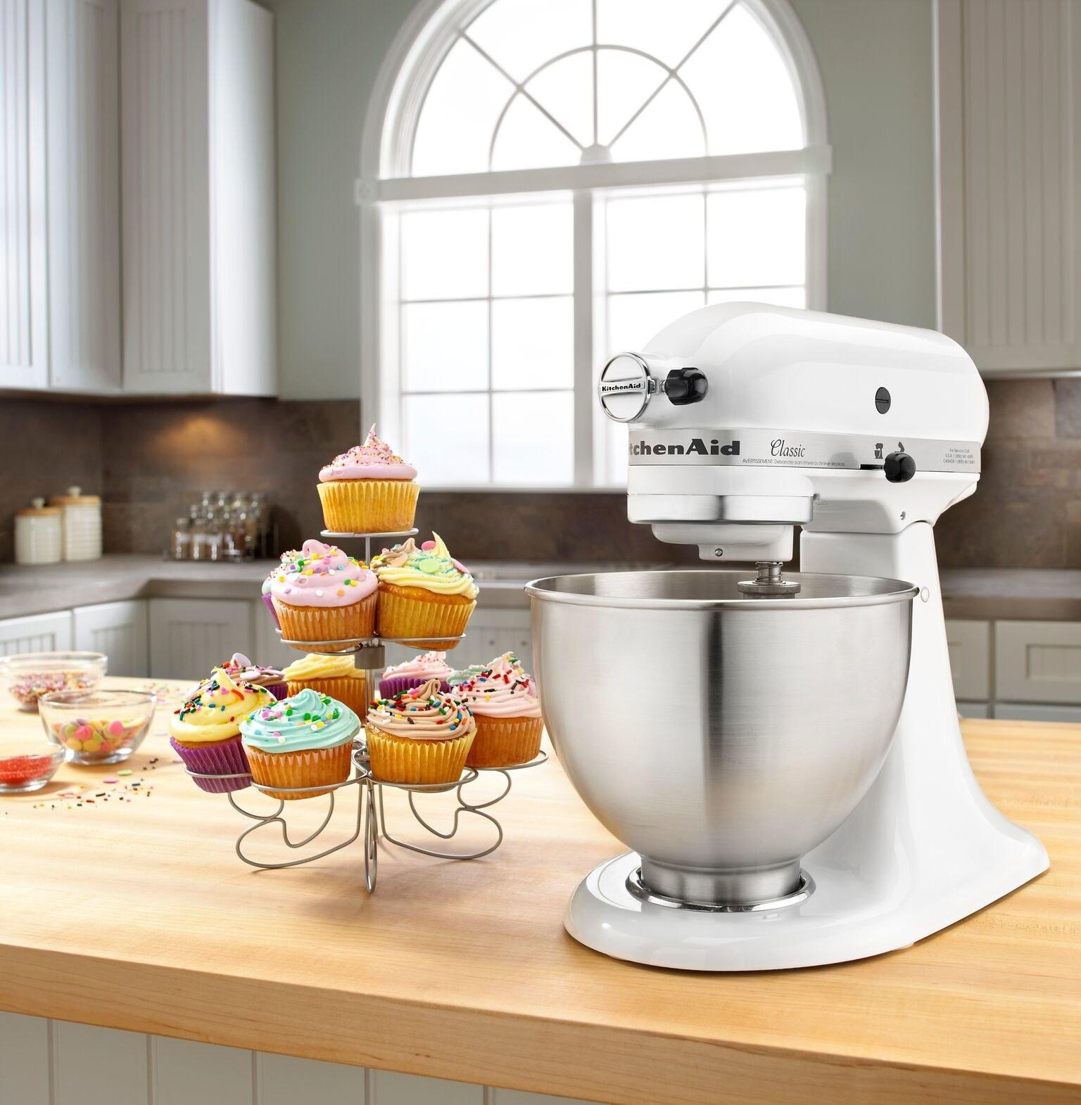 A white KitchenAid mixer