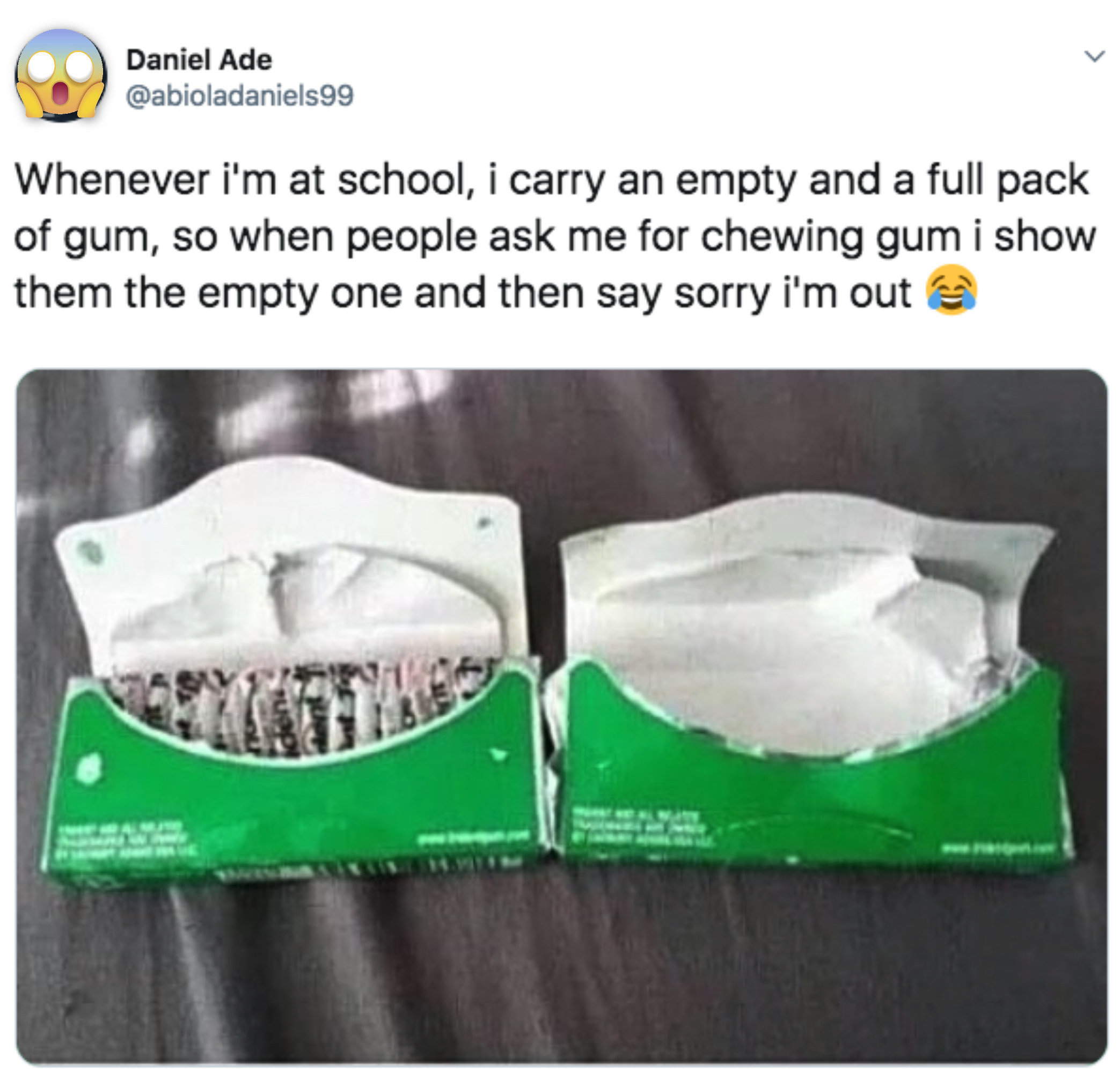 someone who carries an empty pack of gum so he never has to give any out