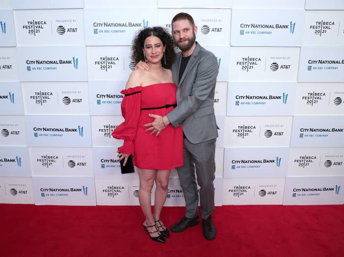 Ilana Glazer and David Rooklin are photographed on a red carpet