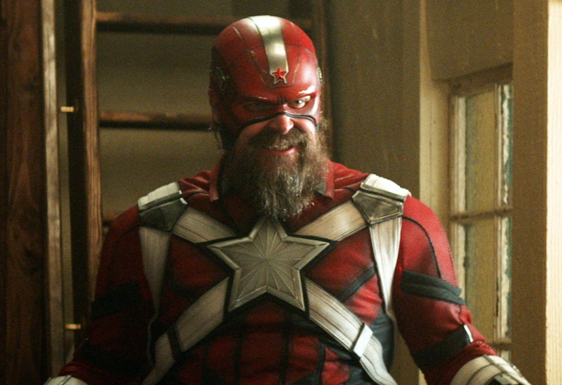 David Harbour dressed as the Red Guardian