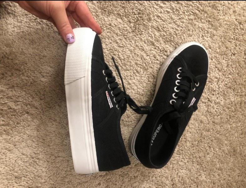 Black Superga sneakers with white platform