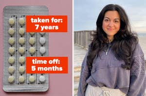 A birth control pack; the author smiling