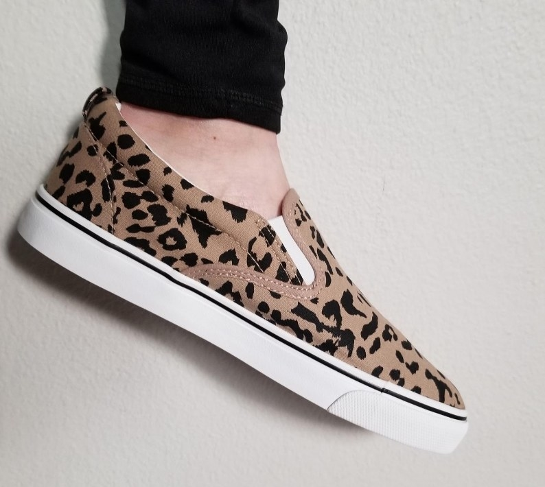 Review photo leopard slip on sneaker with white sole