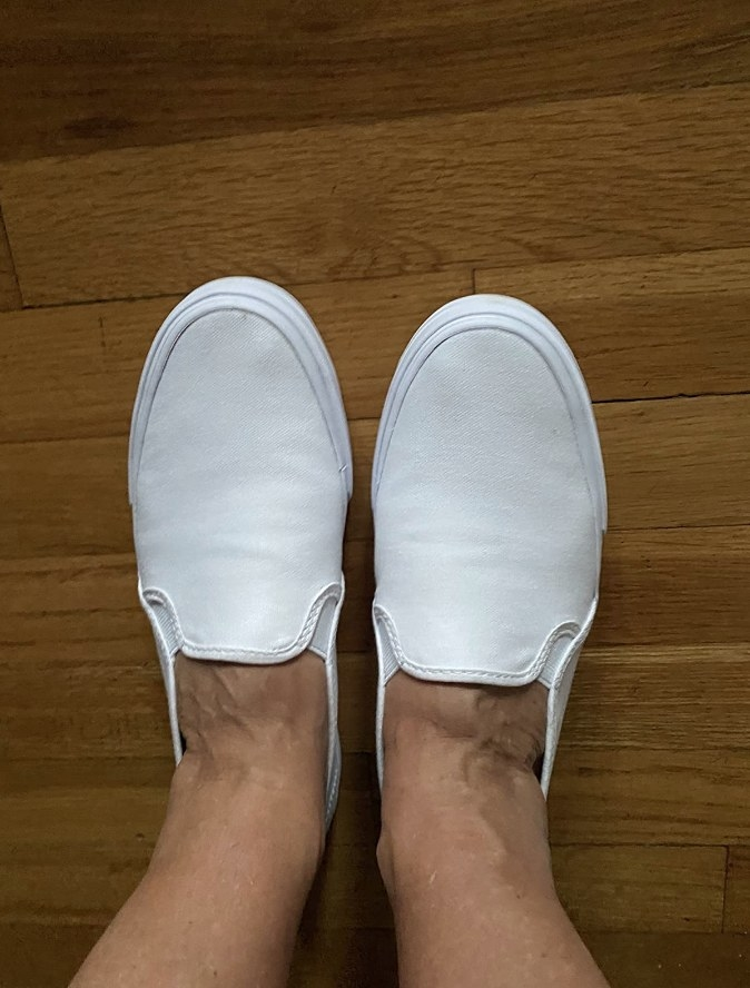Reviewer photo white ked slip ons