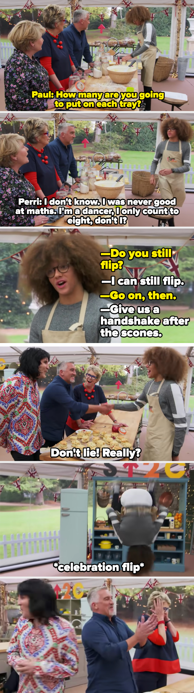 Perri gets a handshake for scones and flips for Paul