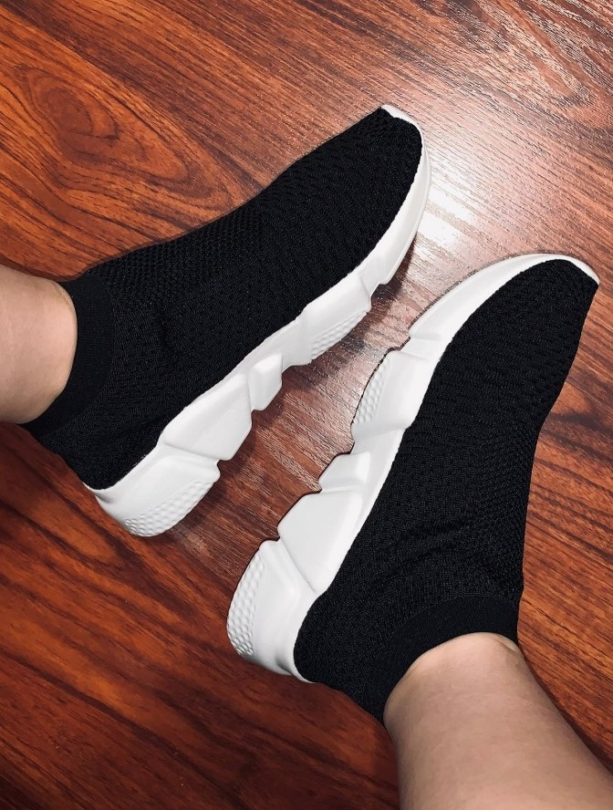 Review photo black sock like slip on sneakers with white sole