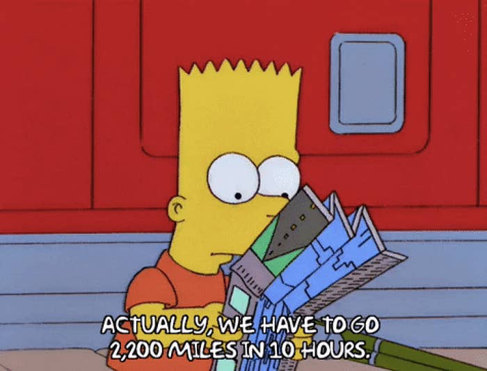 Bart Simpson reading a map