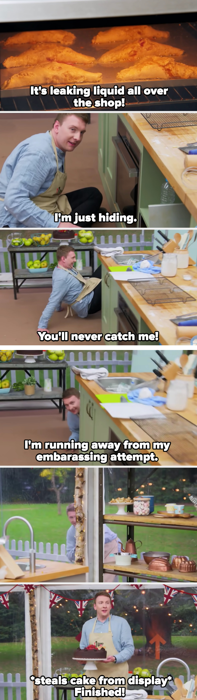 Joe runs from the cameraman then steals a cake from the display