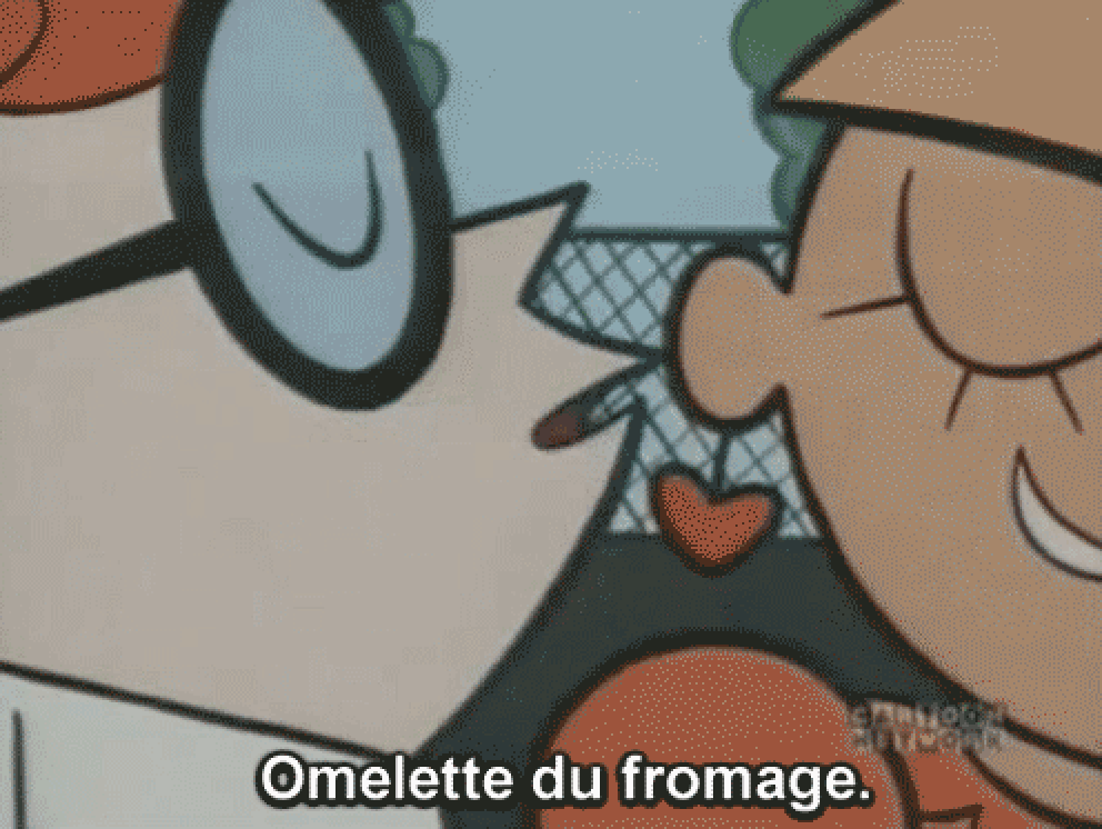 "Dexter from dexter's laboratory whispering ""omelette du fromage"" in a girl's ear"