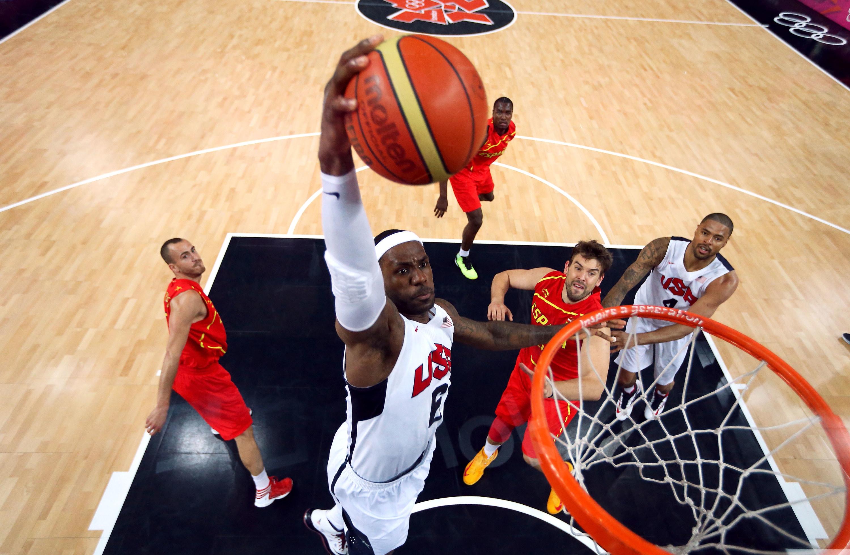 LeBron James dunks basketball in USA jersey