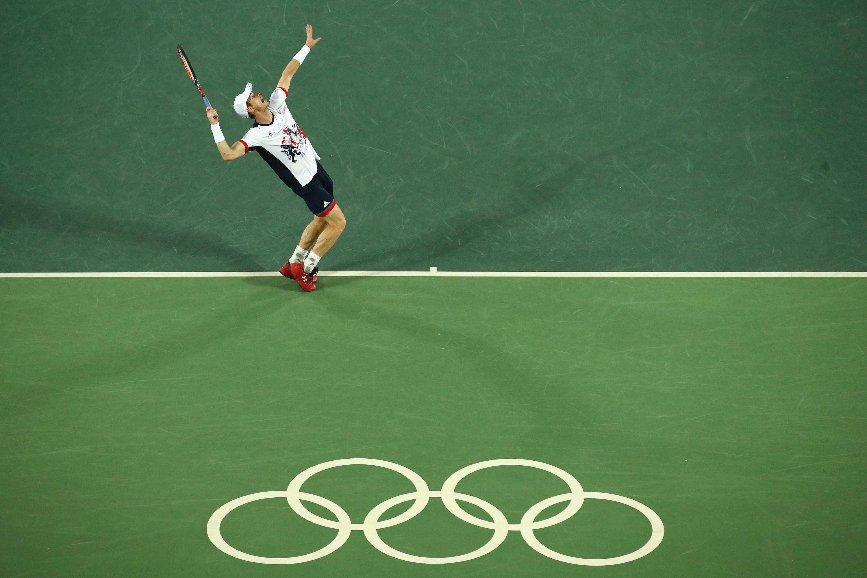 Man serving in tennis game