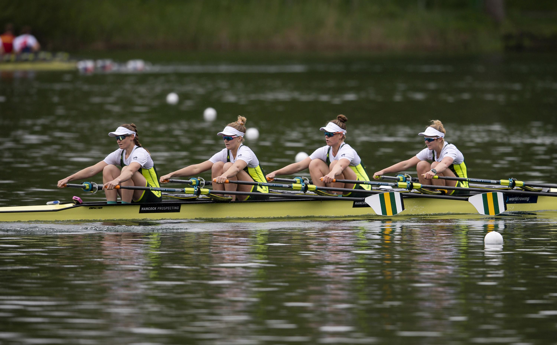 Four women rowing