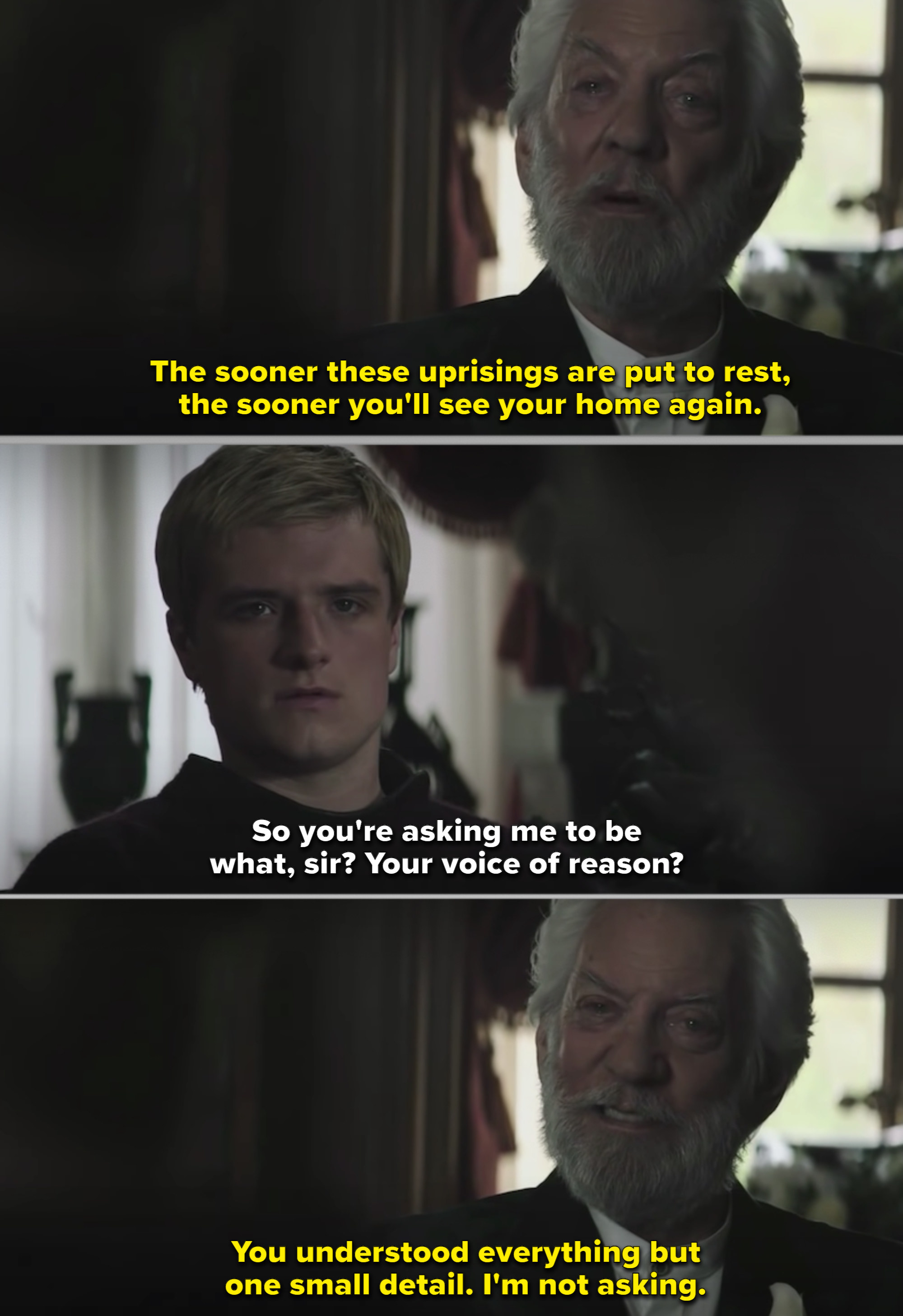President Snow and Peeta talking in his house