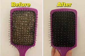 L: a reviewer image of a brush with lots of hair stuck inside and text reading