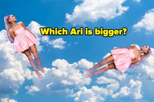 Two Ariana Grandes in the clouds with the text