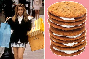 """On the left, Cher from """"Clueless"""" holding multiple shopping bags in her hands, and on the right, some oatmeal creme pies"""