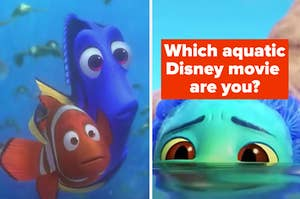Marlin and Dory are on the left looking at Luca underwater labeled, Which aquatic  Disney movie  are you?