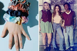 A pack of scrunchies are on the left with the cast of Cruel Summer on the right