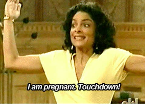 """Whitley from """"A Different World"""" saying """"I am pregnant. Touchdown!"""""""