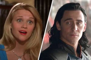 Reese Witherspoon as Elle Woods and Tom Hiddleston as Loki