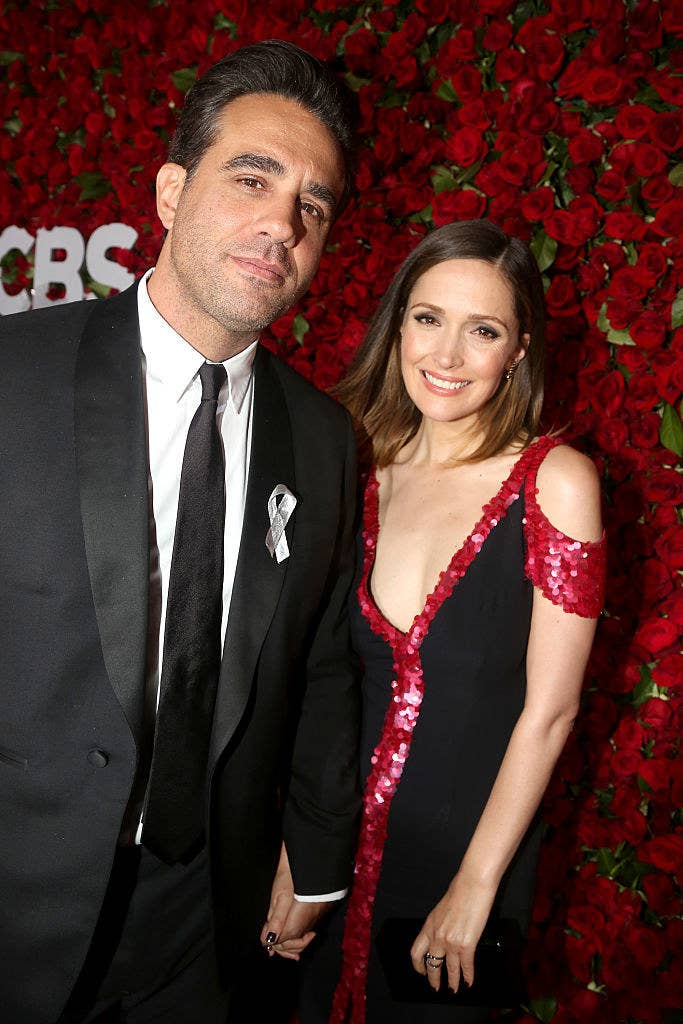 Bobby Cannavale (L) and Rose Byrne hold hands at the 70th Annual Tony Awards