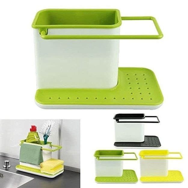 A green plastic sink caddy with cleaning brushes and detergent in it