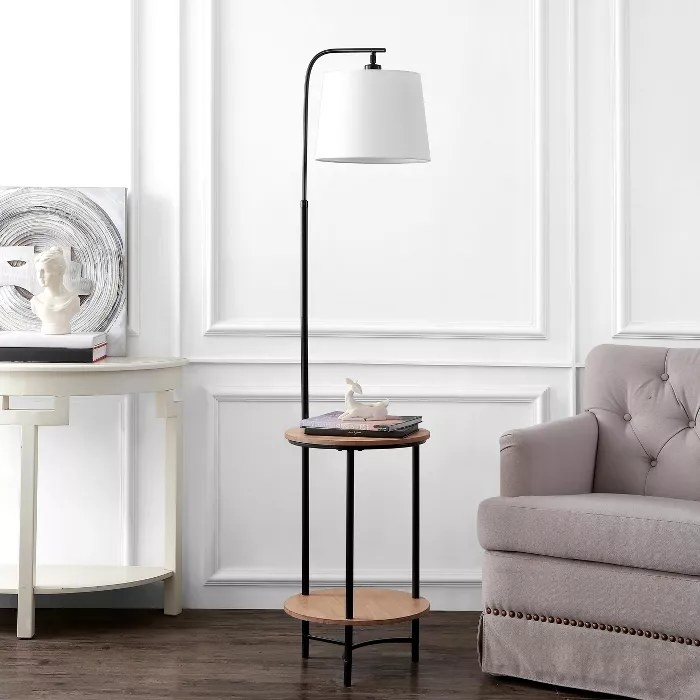 The two-shelf night stand with attached floor lamp