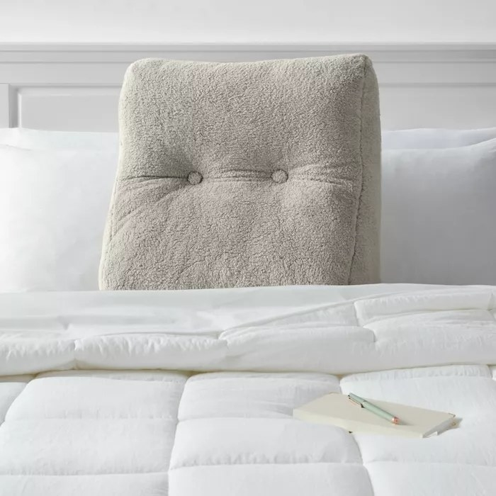 The gray sherpa pillow