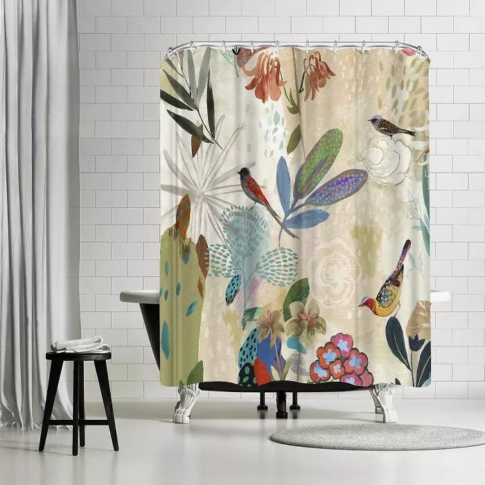 The floral shower curtain