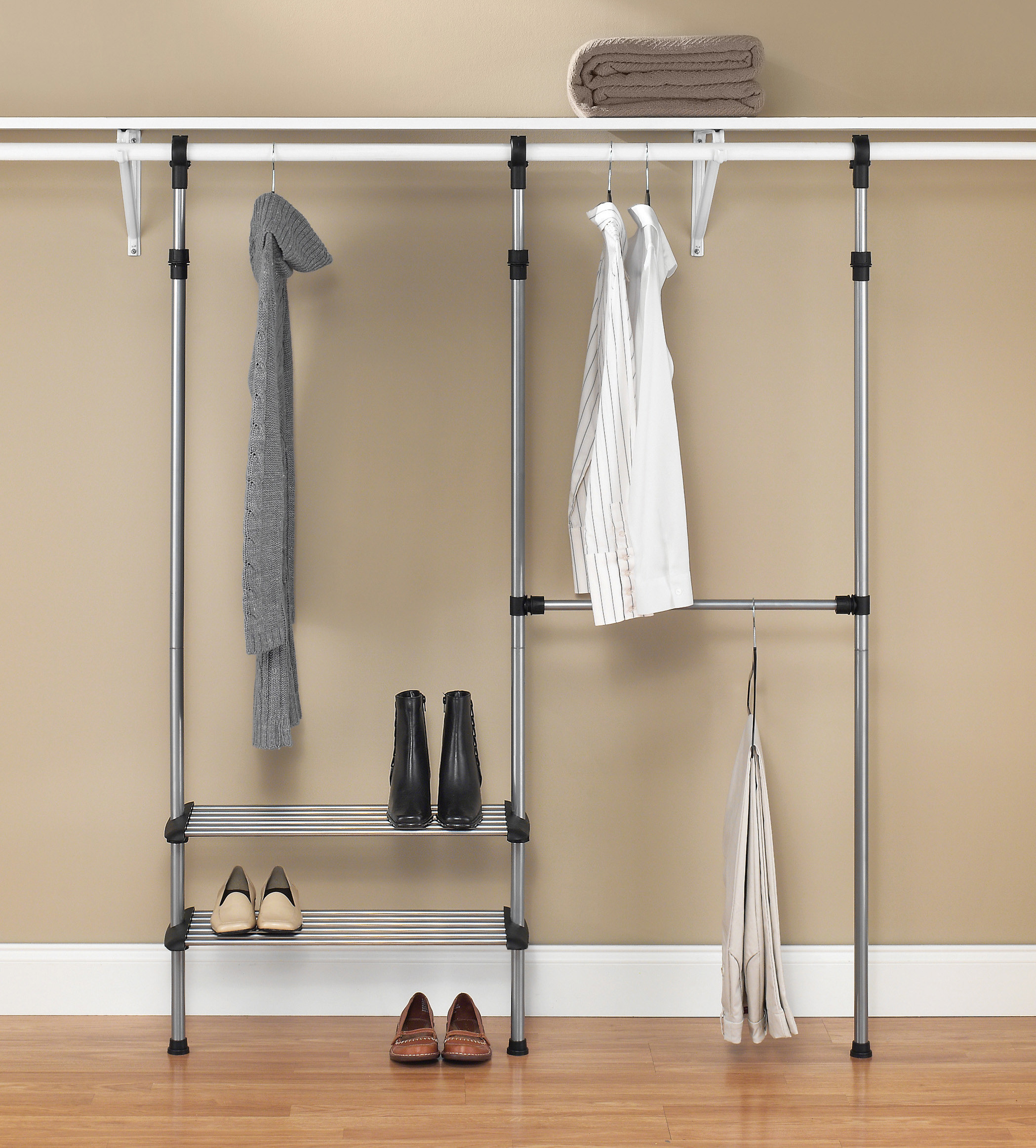 Thetwo-shelf, two-rod adjustable steel closet organizer