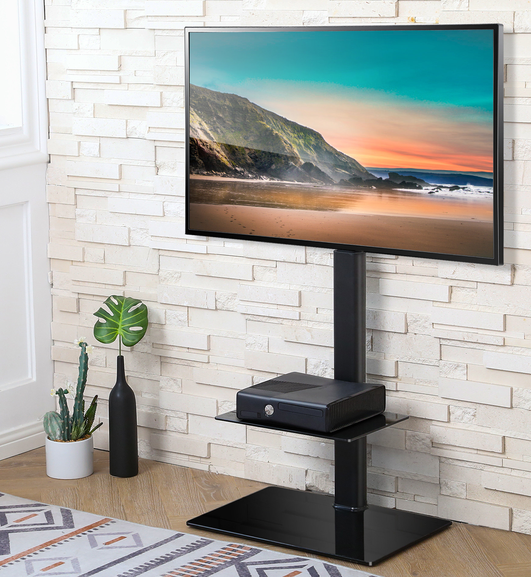 Theheight-adjustable floor TV stand with a swivel mount
