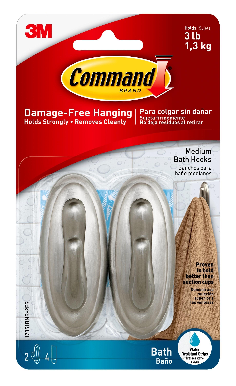 Thepack of brushed nickel command hooks