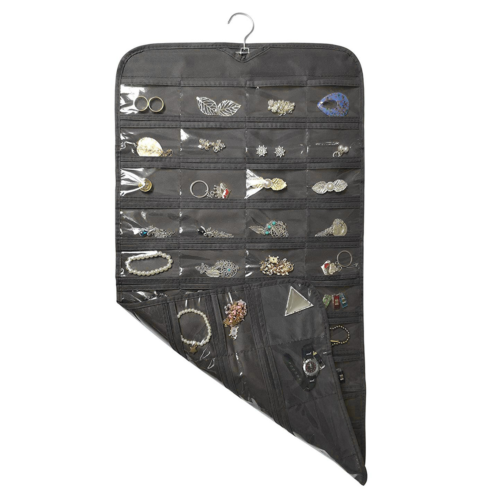 The blackhanging jewelry organizer with 80 pocket pouches