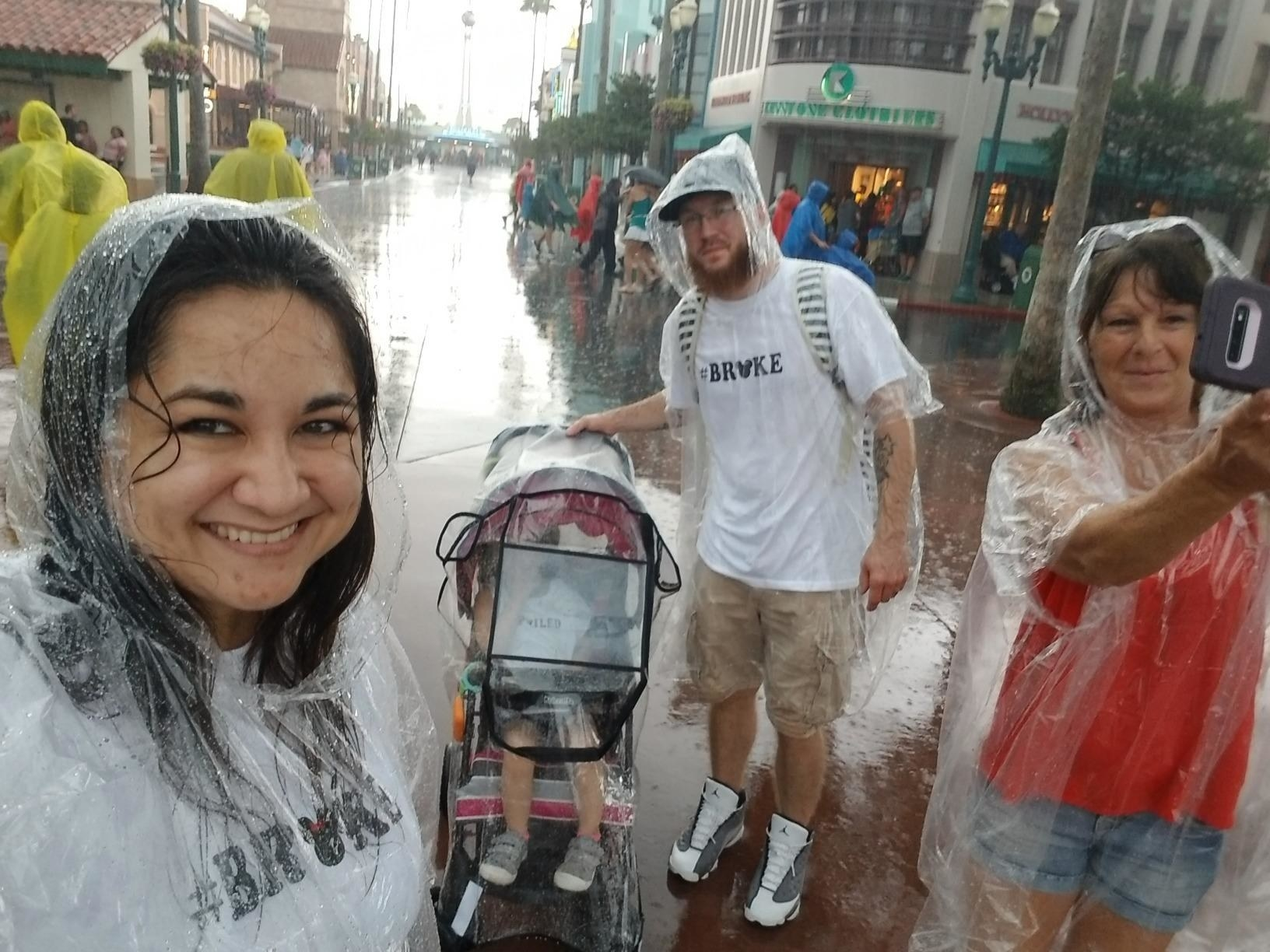 Reviewer's photo showing the stroller cover at Disney